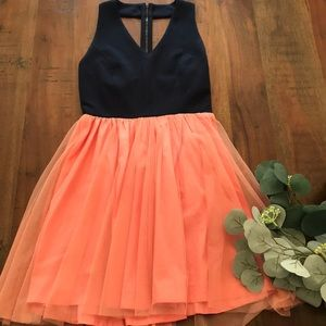 Francesca's Tulle Dress in Neon Pink and Navy